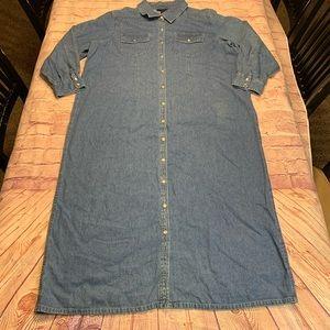 Denim & Co Womens Size 2X Blue Button Up Dress